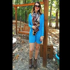 """Piko Tunic - Dazzling Blue PIKO tunics in adorable new colors are here!! If you do not own one of these tops, you are missing out! These tunic tops are super soft and comfortable.  You can pair them with leggings or with jeans, and depending on your height, these may also be worn as a tunic dress.   Pictured here with our blanket scarf and Sbicca Zepp booties (listed separately).   Model is 5'9"""" and wearing a size small with 4"""" heels Piko Tops Tunics"""