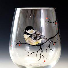 Hand painted Chickadee on wine glass by SilviasBrush on Etsy