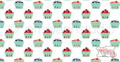 Berry Baskets. Surface Pattern Design. Available for licensing. Emily Ann Studio. Spoonflower fabric.