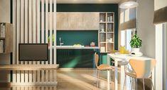 дизайн квартиры 47 кв м по проекту Сабины Карахан. Кухня, столовая, прихожая и гостиная объединены в одно пространство.