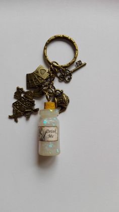 Alice in Wonderland Bronze Tone Keyring, Gift, Alice, Wonderland, White Rabbit, Keyrings, Fairy Tales, by artyResin on Etsy