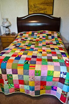 Polyester Patchwork Quilt Vintage 1970s by WhositsandWhatnots,
