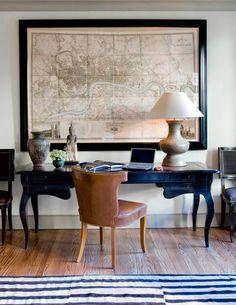 Masculine work space.  Leather + black + vintage details.