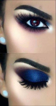 43 Awesome Chic And Glamour Eye Makeup Looks Ideas And Images For 2019 Part 41 Natural Eye Makeup, Blue Eye Makeup, Makeup For Brown Eyes, Smokey Eye Makeup, Eyeshadow Makeup, Natural Hair, Eyeshadow Palette, Blue Eyeshadow, Makeup Palette