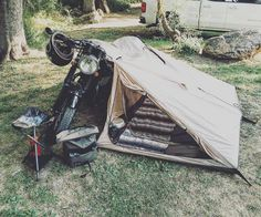 Nomad 2 Camp Tent Long awaiting is our updated Nomad tent which boasts all the great features of our Original Nomad PLUS some extra. The ideal companion to any road warrior the Nomad Tent is fo Camping Life, Tent Camping, Camping Gear, Camping Tools, Backpacking, Bmw Scrambler, Motorcycle Tent, Pimp Your Bike, Guzzi V7