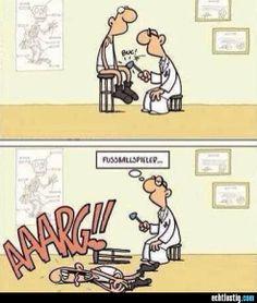 Fußballspieler beim Arzt