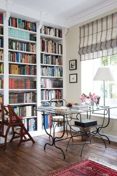 Home Library Design, Home Office Design, Design Desk, Bookshelf Design, Library Ideas, Design Bedroom, Apartment Bookshelves, Bookcases, English Cottage Style