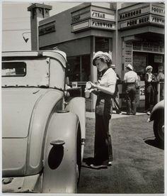 Car Hops, Early Drive in Restaurant, Hollywood, California, 1935.    Photo by John Gutmann (German-American, 1905–1998)