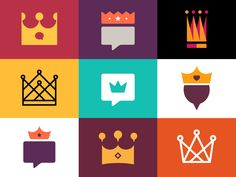 Flat Icons / Flat Design / Icons / Pictograms / Symbols / Crowns n' Stuff Icon Design, Flat Design Icons, Web Design, Flat Icons, Logos, Logo Branding, Branding Design, Logo Design, Flat Illustration
