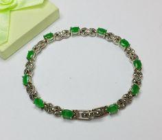 Antikes altes 925er Silber Armband mit Smaragden von Schmuckbaron