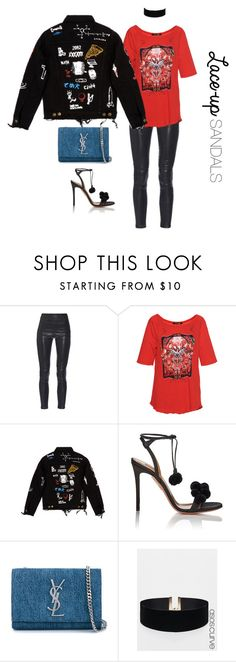 """""""Edgy Laced Up Girl !"""" by luluuheree ❤ liked on Polyvore featuring Yves Saint Laurent, Roberto Cavalli, Aquazzura, ASOS Curve, contestentry, laceupsandals and PVStyleInsiderContest"""