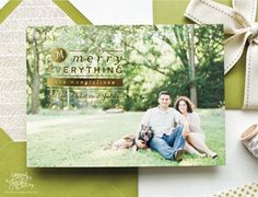 Gold foil photo Christmas cards by Sincerely, Jackie