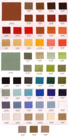 Sunbrella fabric swatches - some mighty fine colors. outdoorfabriccentral.com to purchase