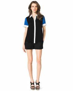 MICHAEL Michael Kors  Short-Sleeve Colorblock Blouse & Pleated Zip-Pocket Shorts.