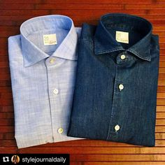 """zampa-di-gallina: """"#Repost @stylejournaldaily ・・・ Two new arrivals from @zampa_di_gallina. Chambray and denim shirts by @mariasantangelo Napoli. Thought I would give my G. Inglese collection some new..."""