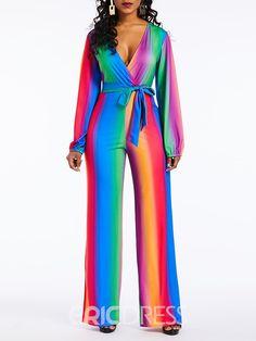 6dd2d9cb6f33 Ericdress Color Block Skinny Lace-Up Women s Jumpsuit
