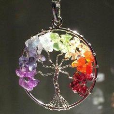 Envueltos de alambre del árbol de la vida de Chakra colgante