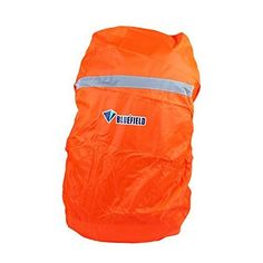 Bluefield Large Size Reflective Waterproof Backpack Case Cover for Night Outdoor Activities Camping Orange * For more information, visit image link.