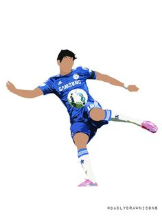 Illustration depicting #CHELSEA's DIEGO 'made for the prem' COSTA attempting a volley against Swansea / Digital Art by @badlydrawnicons on Etsy