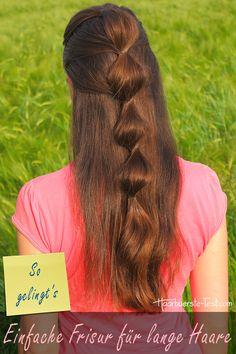 Einfache Frisur für lange Haare Dreadlocks, Hair Styles, Beauty, Quick Work Hairstyles, Girl Style, Simple Hairstyles For Long Hair, Headdress, Medium Length Hairs, Waves