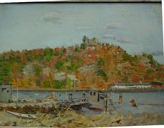"""Connecticut River Scene with Gillette's Castle and Boats,"" Helen Dumond, oil on canvas, 12 x 16"", private collection."