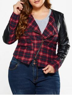 GET $50 NOW   Join RoseGal: Get YOUR $50 NOW!http://www.rosegal.com/plus-size-outerwear/plus-size-pu-leather-trim-913522.html?seid=1424208rg913522
