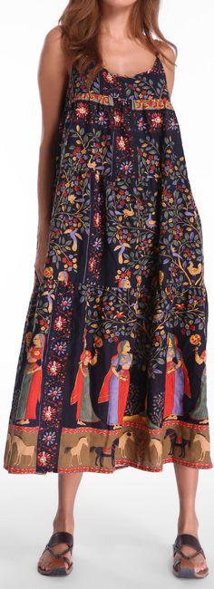 US$20.67 Gracila Bohemian Ethnic Printed Spaghetti Strap Mid-Long Dresses