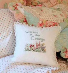 Linens & Fabric Magic...More Romance...welcome pillow