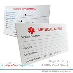 MyIDDr Medical Alert Wallet Cards Thick 400 Lb Card Stock Set Of