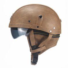 Motorcycle Motorbike Rider Half Open Face PU Leather Helmet Visor With Collar Leather vintage Motorcycle Motorbike Vespa