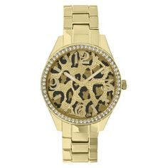 Merona® Animal Print Dial Watch,Gold Bracelet with Stones