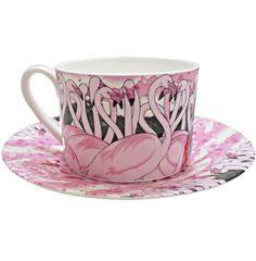 Flamingoes Cup & Saucer by artist 'Yumiko Kayukawa' avail 'ClickForArt.com'<3<3<3