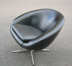 Danish Overman Egg Style Chair In Tufted Black | Chair Glides | Pinterest |  Danish, Teak And Ottomans