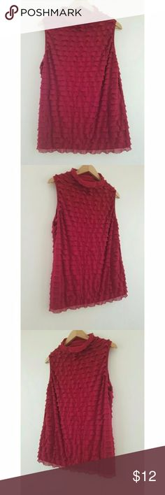 """NY Collection Sleeveless Red Ruffle layered Top NY Collection Red sleeveless ruffle layered top. Polyester spandex. High neck. From office to dinner. Nice with your favorite skirt or pants. Bust 40"""". Length 16.5. NY Collection Tops Blouses"""