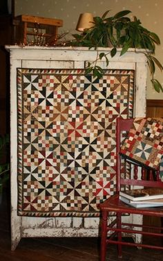 ~Windy Sister Quilt Pattern made of pinwheels and nine patches.  Love it~