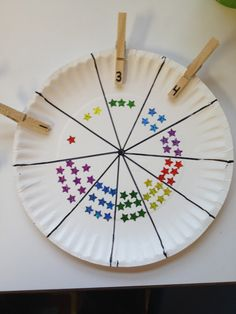 Fine Motor Counting stars or dots on a paper plate plus clothes pins with numbers.