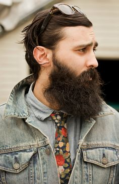 Denim on Demin plus Tie -- People. Faces. Guys. Men. Confidence. Style. Cool. Classic. Leather. Textures. Layers. Indie. Dapper. Rugged. Beards. Hair. Skin. Beauty. Man Buns. Tees. Suit + Tie. Artistic. Tattoos. Piercings. Body. Features. Athletes. Selfies. Denim. Clean Cut. Distinguished. Tattoos. Jawlines. Eyes. Strong.