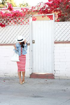 Nautical Weekend outfit: Red Stripe Midi Dress,denim jean jacket,Panama hat, white purse and gold metallic pumps