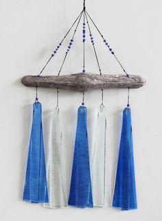 Blue & White Glass & Driftwood Wind Chimes - Garden & Patio Decor - California Seashell Company