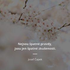 Nejsou špatné pravdy, jsou jen špatné zkušenosti. - Josef Čapek #pravda Motto, Motivation, Words, Quotes, Inspiration, Quotations, Biblical Inspiration, Mottos, Quote