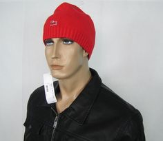LACOSTE Hat Men's Winter Beanie Red Hat NEW #LACOSTE #Beanie 29.99