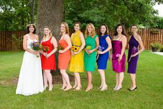 bride with rainbow bridesmaids at the woodlands at algonkian wedding. RAINBOW BRIDESMAIDS, Pinterest!