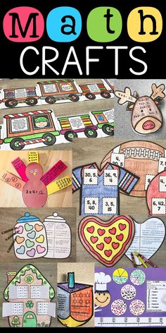 Grab this giant bundle of math crafts for 3rd and 4th graders. These crafts are perfect to reinforce math skills in a fun way! Students are motivated and they make great bulletin boards throughout the seasons!