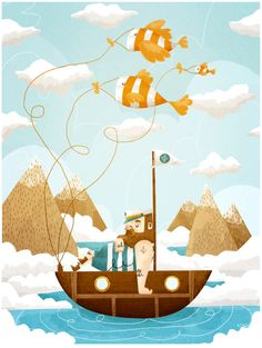 FISH by Rafael Mayani- boys room art. Koi, Children's Book Illustration, Whimsical Art, Illustrations Posters, Illustrators, Concept Art, Drawings, Behance, Artwork