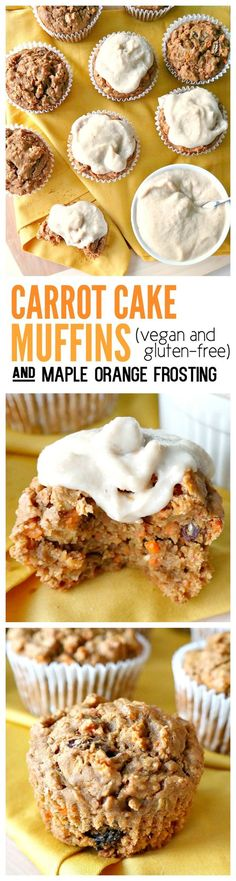 Vegan & Gluten-Free. Fluffy, not dry! Made with oat flour, warming spices, grated carrot, raisins and applesauce for a wholesome on-the-go snack or quick breakfast. Slather with creamy orange-infused maple cashew frosting and turn it into a treat! #carrot #cake #muffins #vegan