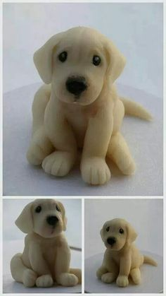 Lab puppy cake topper fondant by phototheque Fondant Cake Toppers, Fondant Cakes, Cupcake Cakes, Fondant Baby, Dog Cake Topper, Mini Cakes, Decors Pate A Sucre, Puppy Cake, Animal Cakes