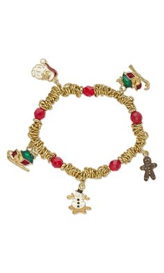 Christmas Charm Bracelet with Antiqued Gold Pewter Charms, Czech Fire-Polished Glass Beads and Gold-Colored Aluminum Chain by Esther Pollock. #bracelet #charm #christmasjewelry