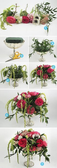 How To: Create a DIY Anemone Centerpiece A Practical Wedding: use this idea for fall flower arrangement. Floral Centerpieces, Wedding Centerpieces, Floral Arrangements, Wedding Decorations, Centerpiece Ideas, Table Centerpieces, Ikebana, Diy Flowers, Tablescapes