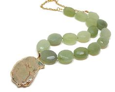 Green Jade Necklace, Chunky Stone Necklace, Sea Sediment Jasper Pendant, Large Bead Necklace, Big Bold Necklace, Gemstone Statement Necklace