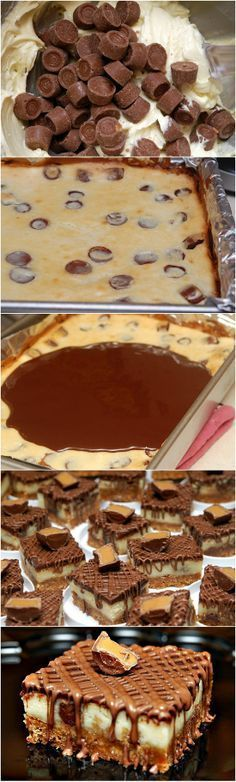 Rolo Cheesecake Bars ~ The combination of the Rolos with cheesecake and chocolate in these bars will make you lick your fingers!